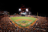 The San Francisco Giants celebrate after defeating the St Louis Cardinals 63 during Game Five of the National League Championship Series at ATT Park...