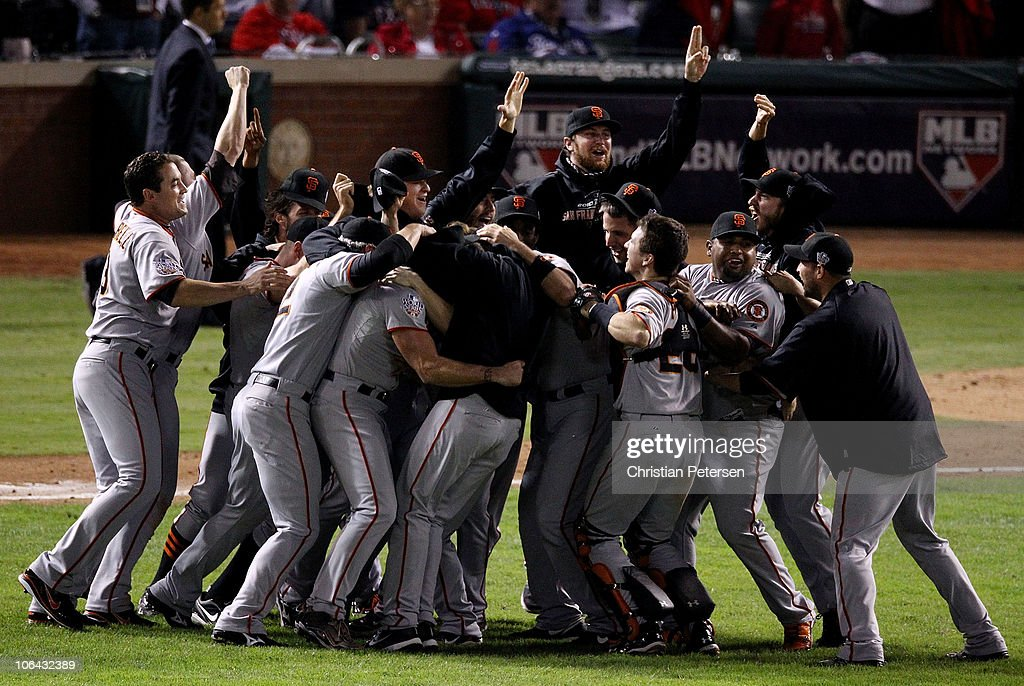 The San Francisco Giants celebrate defeating the Texas Rangers 3-1 to win the 2010 MLB World Series at Rangers Ballpark in Arlington on November 1, 2010 in Arlington, Texas.