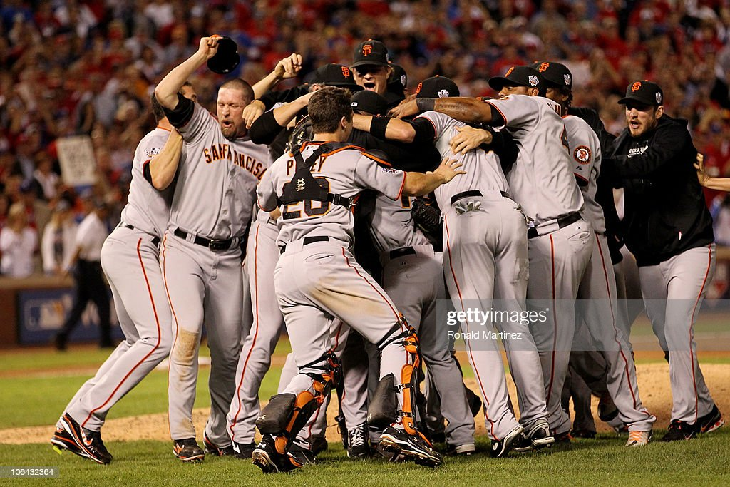 The San Francisco Giants celebrate their 3-1 victory to win the World Series over the Texas Rangers in Game Five of the 2010 MLB World Series at Rangers Ballpark in Arlington on November 1, 2010 in Arlington, Texas.