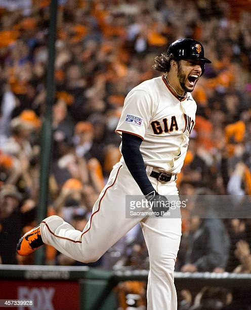 The San Francisco Giants' Michael Morse celebrates his gametying home run to left field in the eighth inning against the St Louis Cardinals in Game 5...