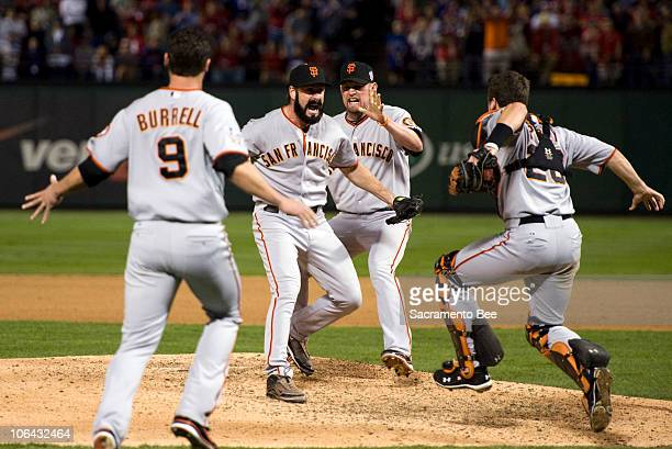 The San Francisco Giants rejoice after winning the World Series over the Texas Rangers 31 at Rangers Ballpark in Arlington Texas on Monday November 1...