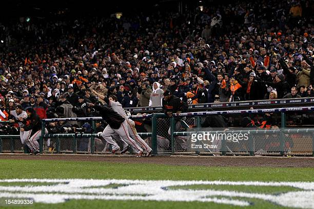 The San Francisco Giants runout of the dugout to celebrate after defeating the Detroit Tigers to win Game Four of the Major League Baseball World...