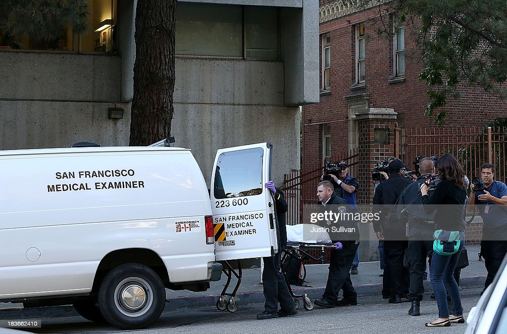 The San Francisco medical examiner moves a body of believed to be 57-year-old Lynne Spalding into a van outside of San Francisco General Hospital on October 8, 2013 in San Francisco, California. 57-year-old Lynne Spalding, of San Francisco was believed to have been found dead this morning in a remote stairwell at San Francisco General Hospital after she was reported missing from her hospital room more than two weeks ago. Spalding was last seen on September 21 by hospital employees after she was undergoing treatment for an infection.