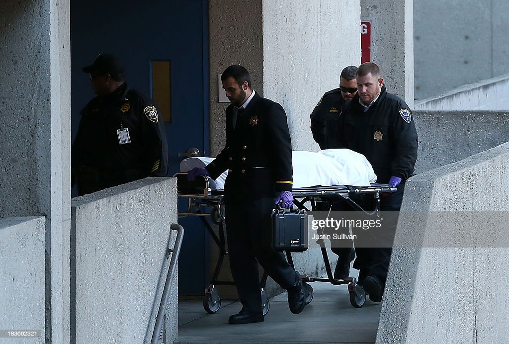 The San Francisco medical examiner moves the body of believed to be 57-year-old Lynne Spalding on a gurney at San Francisco General Hospital on October 8, 2013 in San Francisco, California. 57-year-old Lynne Spalding, of San Francisco was believed to have been found dead this morning in a remote stairwell at San Francisco General Hospital after she was reported missing from her hospital room more than two weeks ago. Spalding was last seen on September 21 by hospital employees after she was undergoing treatment for an infection.
