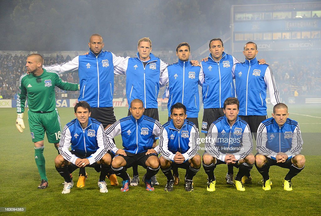 The San Jose Earthquakes starting line-up poses for a team photo before the start of their game against Real Salt Late at Buck Shaw Stadium on March 3, 2013 in Santa Clara, California.