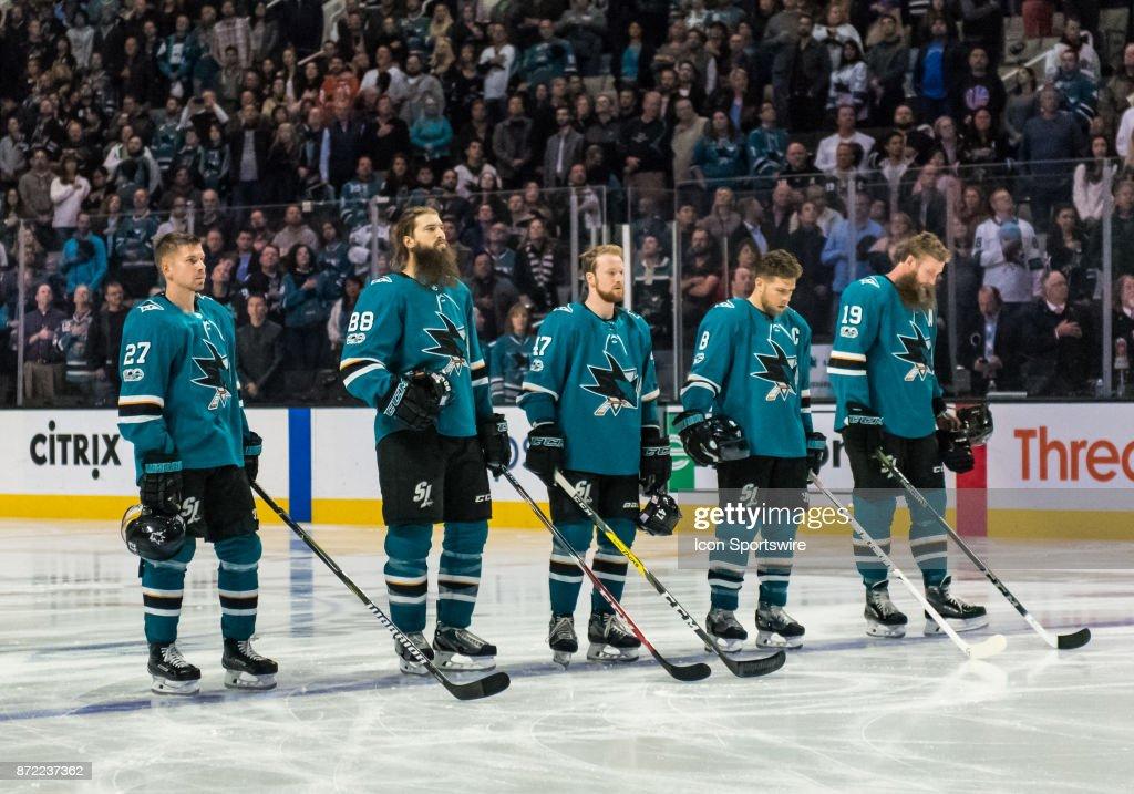 The San Jose Shark lineup during the National Anthem before the regular season match between Tampa Bay Lightning and San Jose Sharks on Wednesday, November 8, 2017 at the HP Pavilion, San Jose, CA