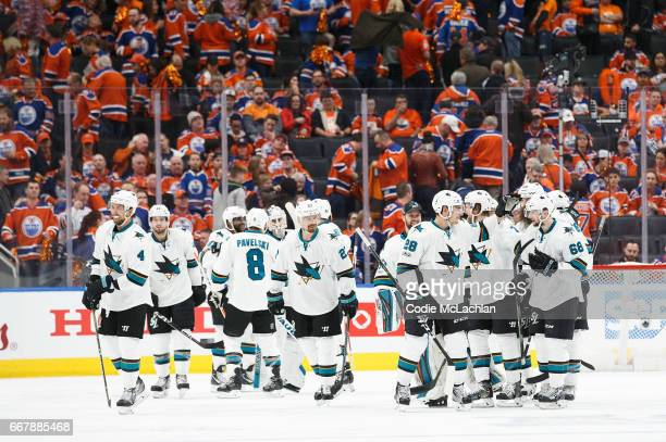 The San Jose Sharks celebrate a 32 overtime victory against the Edmonton Oilers in Game One of the Western Conference First Round during the 2017 NHL...