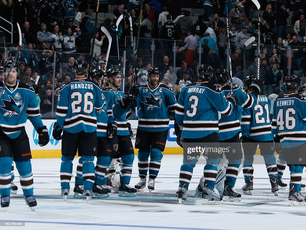 The San Jose Sharks celebrate after a victory against the Colorado Avalanche during an NHL game on February 26, 2013 at HP Pavilion in San Jose, California.