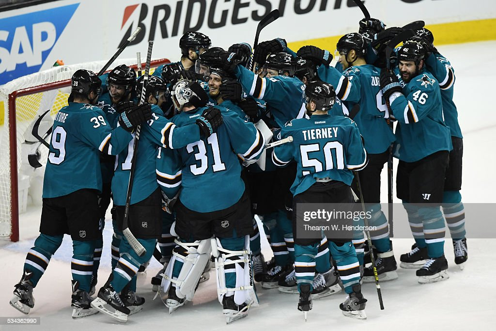 The San Jose Sharks celebrate after defeating the St. Louis Blues 5-2 in Game Six of the Western Conference Final to advance to the the 2016 NHL Stanley Cup Final at SAP Center on May 25, 2016 in San Jose, California.