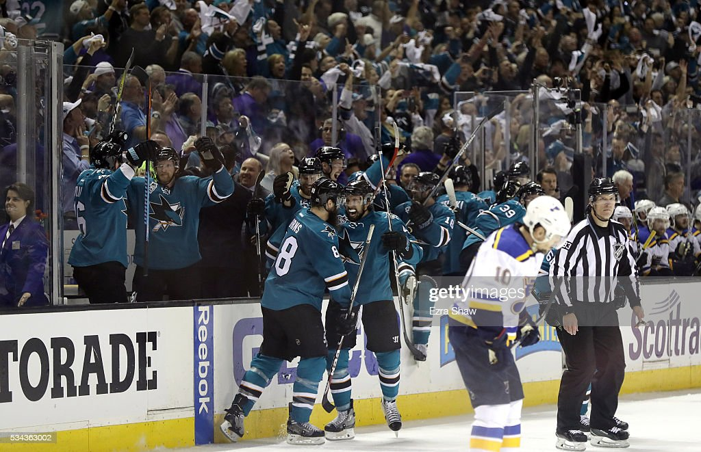 The San Jose Sharks celebrate after they beat the St. Louis Blues in Game Six of the Western Conference Final during the 2016 NHL Stanley Cup Playoffs at SAP Center on May 25, 2016 in San Jose, California.
