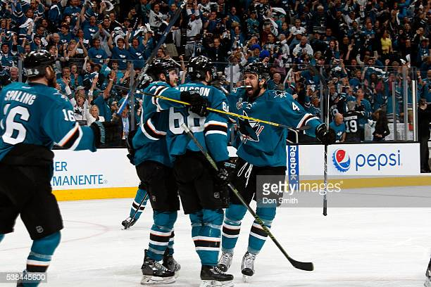 The San Jose Sharks celebrate their first goal against the Pittsburgh Penguins in Game Four of the 2016 NHL Stanley Cup Final at the SAP Center at...