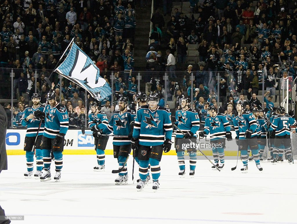 The San Jose Sharks celebrate their victory against the Anaheim Ducks during an NHL game on March 27, 2013 at HP Pavilion in San Jose, California.