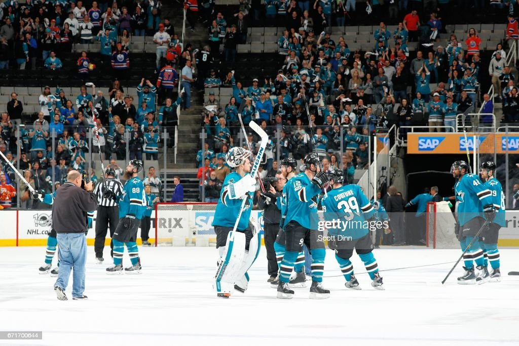The San Jose Sharks salute the crowd after their loss against the Edmonton Oilers in Game Six of the Western Conference First Round during the 2017 NHL Stanley Cup Playoffs at SAP Center at San Jose on April 22, 2017 in San Jose, California. The Oilers defeated the Sharks 3-1.