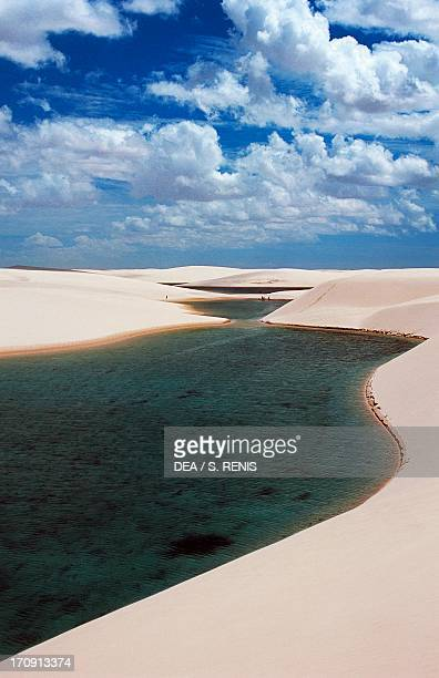 The sand dunes known as white sheets and freshwater lakes of changing colours formed by precipitation Lencois Maranhenses National Park State of...