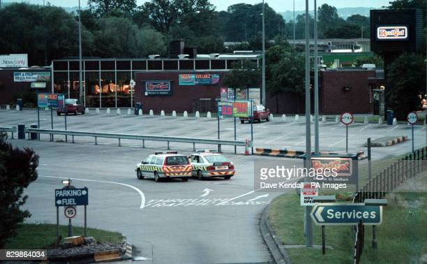 The Sandbach Cheshire services on the Southbound carriageway of the M6 where Police are examining a suspect lorry in a terrorist alert See PA Story...