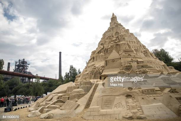 The Sandburg sandcastle is seen on September 1 2017 in Duisburg Germany A local travel agency commissioned the building of the sandcastle and sought...