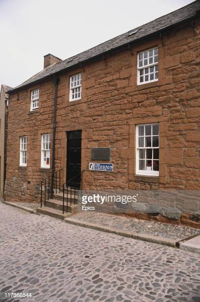 The sandstone exterior of Burns House where Scottish poet Robert Burns spent the last years of his life Dumfries Scotland photo circa 1990