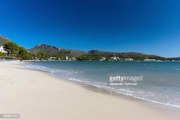 The sandy beach Platja de Llenaire in Puerto Pollensa, Majorca, Balearic Islands, Spain, Europe