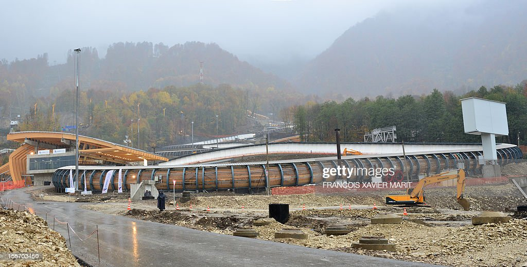 The Sanki sliding centre, which will host the luge, bobsleigh and skeleton events at the upcoming 2014 winter olympics in Rosa Khutor, part of the mountain cluster of installations some 50km from Sochi. MARIT