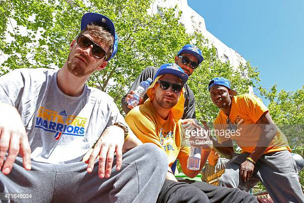 The Santa Cruz Warriors celebrate during the Championship Parade after winning the DLeague Finals in Downtown Santa Cruz on April 29 2015 in Santa...