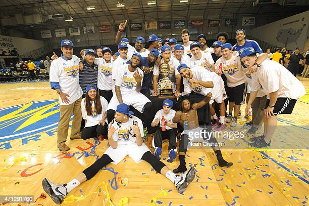 The Santa Cruz Warriors pose with the trophy after winning the NBA DLeague Championship defeating the Fort Wayne Mad Ants in Game Two of the NBA...