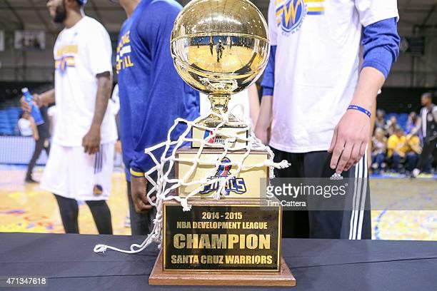 The Santa Cruz Warriors win the NBA DLeague Finals Trophy on April 26 2015 at Kaiser Permanente Arena in Santa Cruz California NOTE TO USER User...