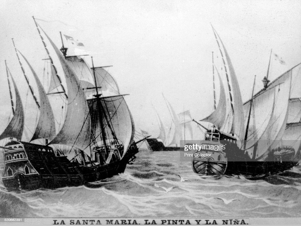 The Santa Maria the Pinta and the Nina Small carablea fleet under the command of Colombus Martin Alonso Pinzon and Vicente Yanez Pinzon Cigar card...