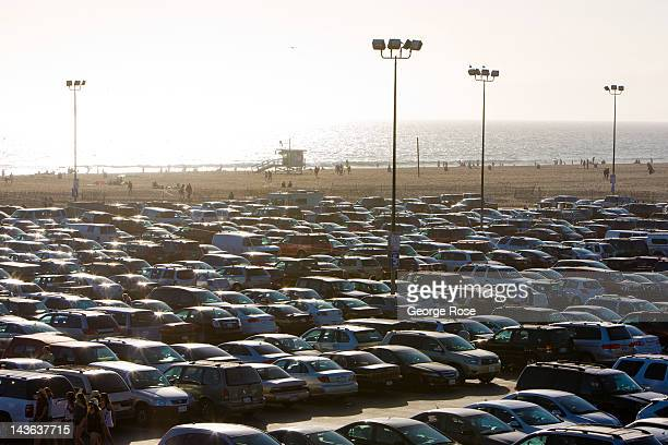 The Santa Monica Pier parking lot is jammed with cars on April 15 2012 in Santa Monica California Millions of tourists flock to the Los Angeles area...