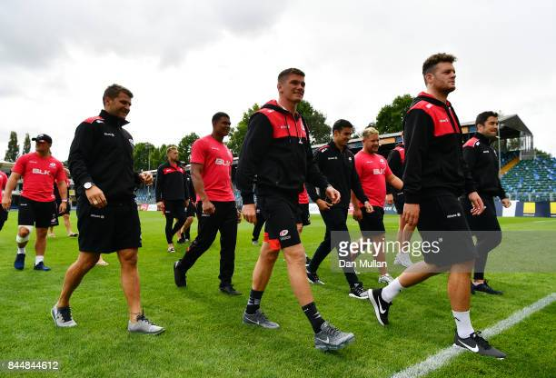 The Saracens players make their way into the changing room prior to the Aviva Premiership match between Bath Rugby and Saracens at Recreation Ground...