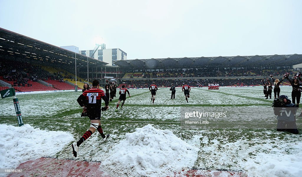 The Saracens players run out for the last time on onto Vicarage Road ground during the Heineken Cup match between Saracens and Edinburgh Rugby at Vicarage Road on January 20, 2013 in Watford, England.