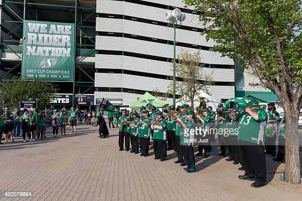 The Saskatchewan Roughrider band entertains before a game between the BC Lions and Saskatchewan Roughriders in week 3 of the 2014 CFL season at...