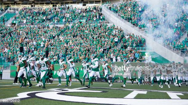 The Saskatchewan Roughriders take the field for the preseason game between the Winnipeg Blue Bombers and Saskatchewan Roughriders at Mosaic Stadium...