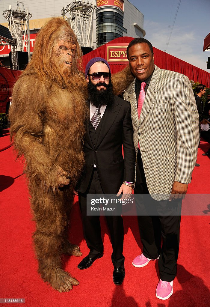The Sasquatch, MLB player Brian Wilson of the San Francisco Giants and former NBA player Cedric Ceballos arrive at the 2012 ESPY Awards at Nokia Theatre L.A. Live on July 11, 2012 in Los Angeles, California.