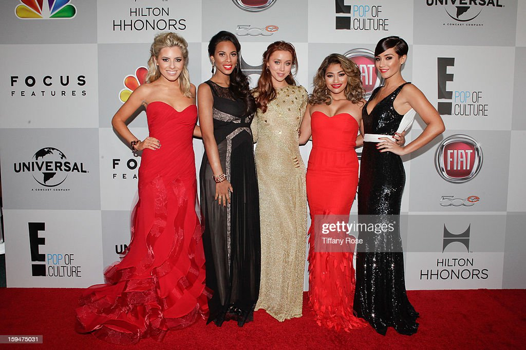 <a gi-track='captionPersonalityLinkClicked' href=/galleries/search?phrase=The+Saturdays&family=editorial&specificpeople=5522110 ng-click='$event.stopPropagation()'>The Saturdays</a> attend the NBC/Universal/Focus Features/E! Networks Golden Globe Awards Celebration Designed And Produced By Angel City Designs at The Beverly Hilton Hotel on January 13, 2013 in Beverly Hills, California.