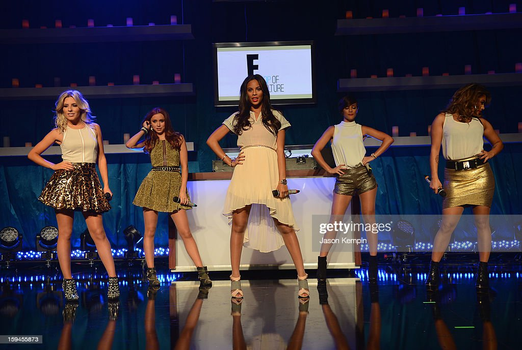 The Saturdays perform at the NBCUniversal Golden Globes viewing and after party held at The Beverly Hilton Hotel on January 13, 2013 in Beverly Hills, California.