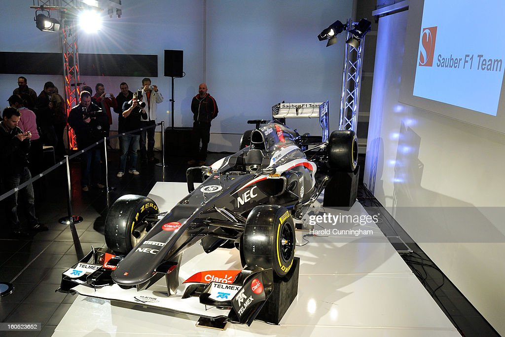 The Sauber C32-Ferrari new car for the 2013 Formula 1 season is unveiled during the launch at the Sauber Motorsport AG on February 2, 2013 in Hinwil, Switzerland.