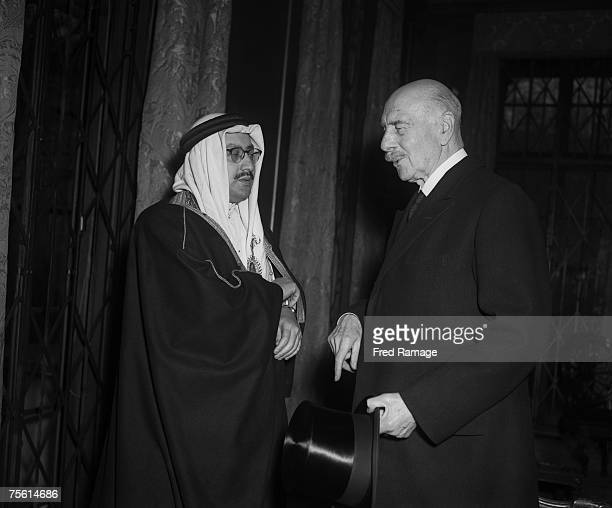 The Saudi Arabian Charge d'affaires in London with Alexander Cambridge 1st Earl of Athlone at a memorial service for the late King Ibn Saud of Saudi...