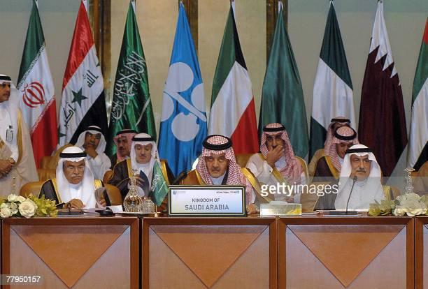 The Saudi delegation Oil Minister Ali alNuami Foreign Minister Prince Saud alFaisal and Finance Minister Ibrahim Abdul Aziz alAssaf attend an...