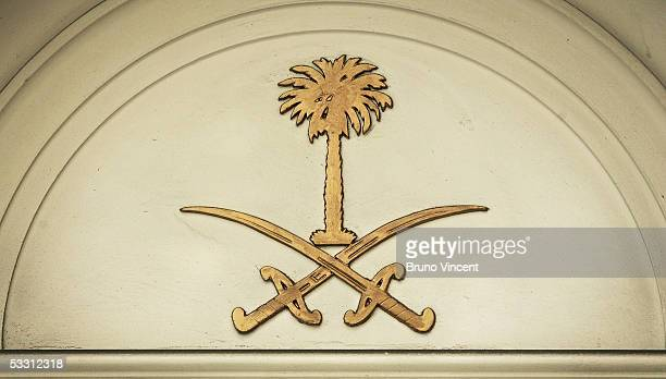 The Saudi royal crest is seen on the Saudi Arabian embassy August 1 2005 in London Saudi Arabia's ruler King Fahd ibn Abdel Aziz died early this...