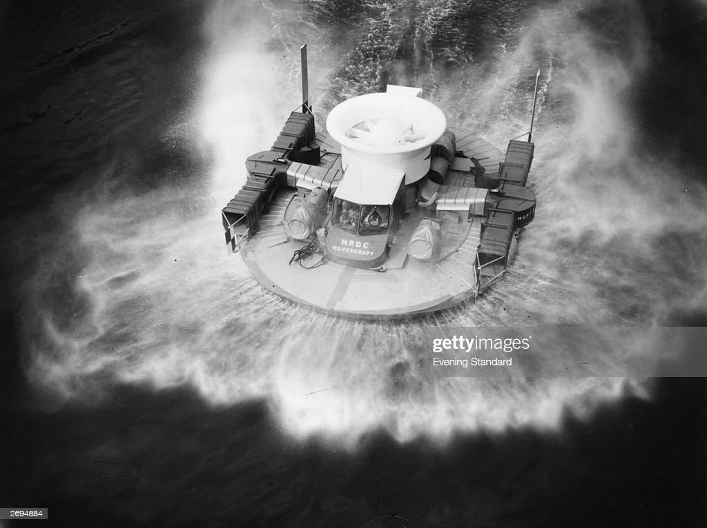 The Saunders Roe SRN1 experimental hovercraft on the Thames at Westminster The craft was designed by Sir Christopher Cockerell inventor of the...