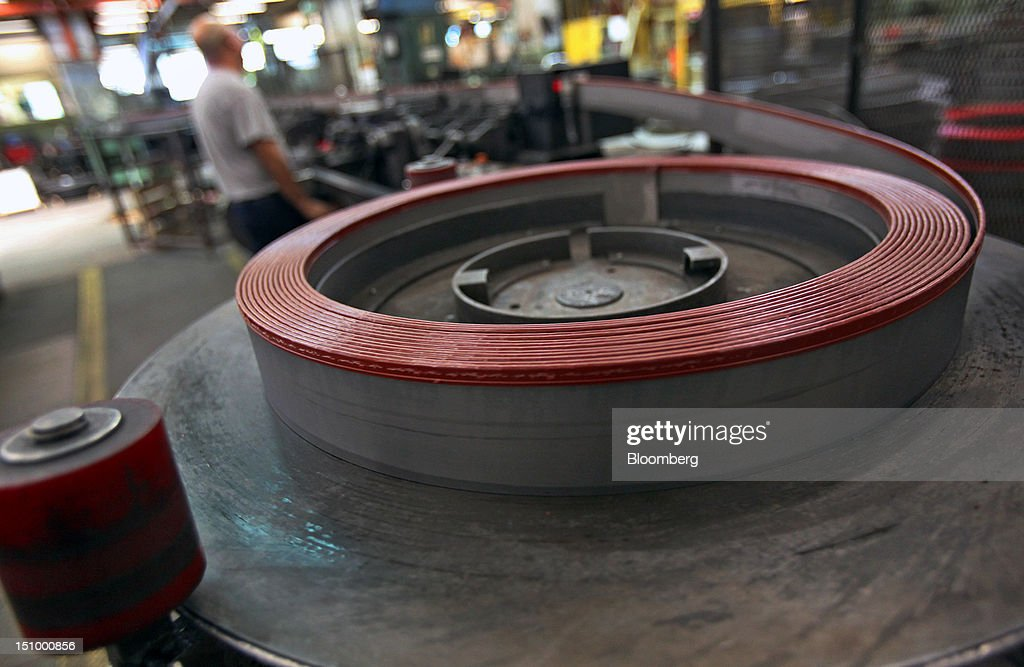 The saw-teeth of band saw blades are covered for safety at DoALL Company's Contour Saws Inc. facility in Des Plaines, Illinois, U.S., on Tuesday, Aug. 28, 2012. The U.S. Census Bureau is scheduled to release factory orders data on Aug. 31. Photographer: Tim Boyle/Bloomberg via Getty Images