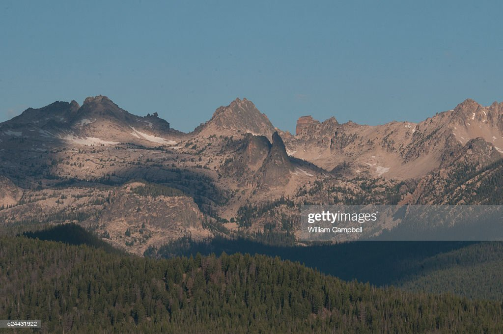 The Sawtooth Mountains in the Sawtooth National Recreation Area of the Sawtooth National Forest in Idaho