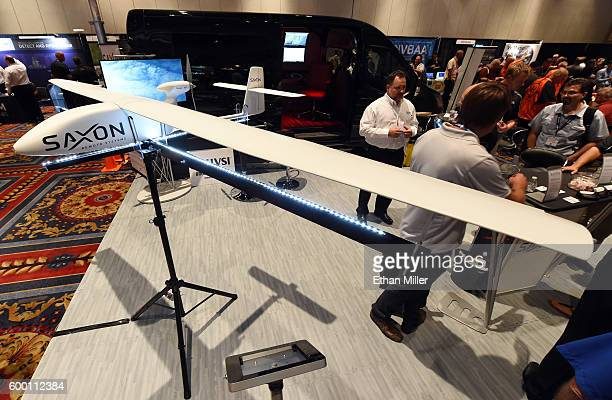 The Saxon Remote Systems Viper M10 fixed wing autonomous electric vehicle is displayed at InterDrone an international drone conference and exposition...