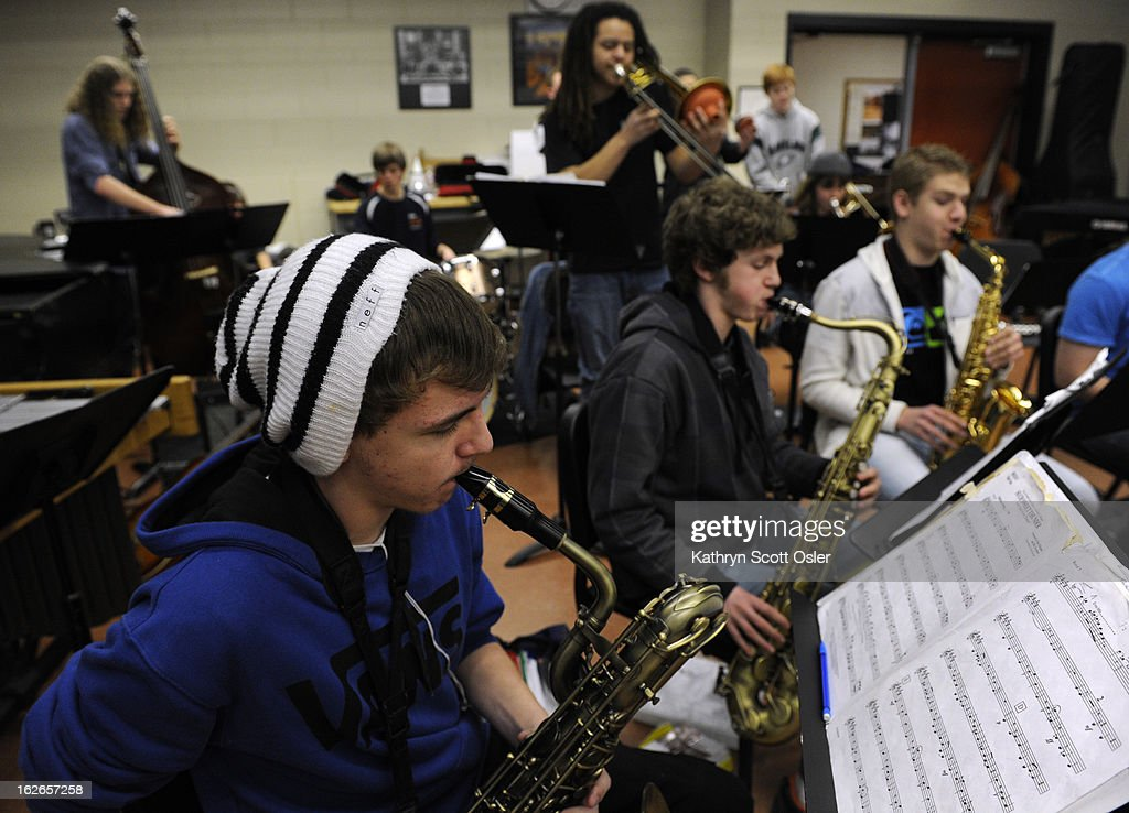 The saxophone section is front and center as the Denver School of the Arts Jazz Workshop Orchestra gets in some rehearsal time with their band director Dave Hammond in preparation for a trip to Savannah, GA for the the Savannah Music Festival's Swing Central Jazz competition. The DSA jazz orchestra is one of only 12 high schools across the nation to be chosen for the competition.