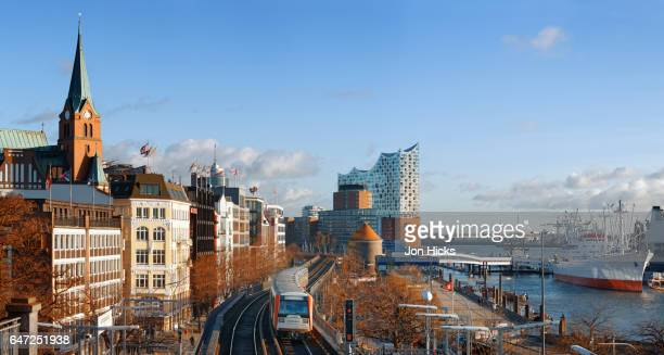 The S-bahn running through the HafenCity district of Hamburg.