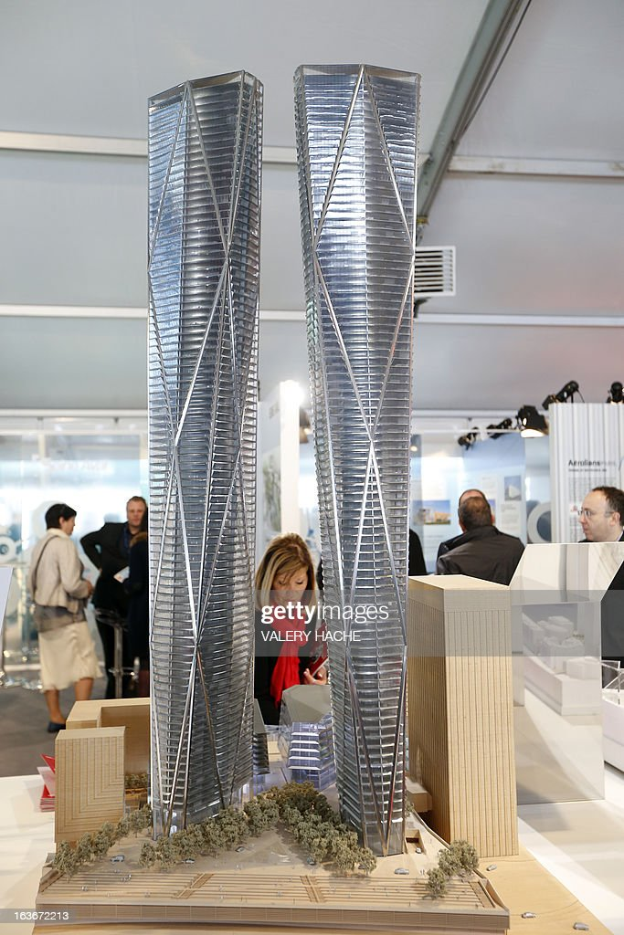 The scale model of the 'Defense Seine Arche-Hermitage Plaza' project in on display on March 14, 2013 at the Palais des Festivals in Cannes, southeastern France, where takes place the MIPIM, an international real estate show for professionals. The event takes place until March 15.