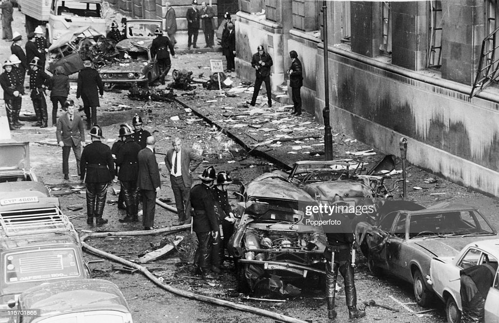 The scene after a car bomb explosion, thought to be the work of the IRA, outside the Central Criminal Court at the Old Bailey in London, 9th March 1973. The bomb exploded on the 8th March. (Photo by Popperfoto/Getty Images).