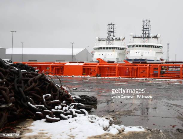 The scene at Aberdeen Harbour Scotland as more snowfalls are forecast along for mucht of the UK