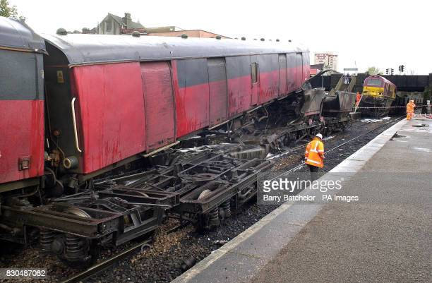 The scene at Lawrence Hill Station near Bristol city where a rail train crashed into a stationary coal train The mail train hit the stationary wagons...
