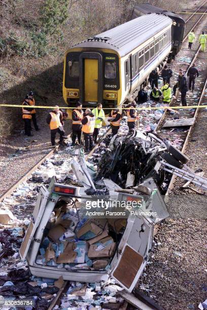 The scene at Nocton Lincolnshire after a train travelling from Bimingham to Sleaford carrying 50 passengers derailed Thursday evening after hitting a...